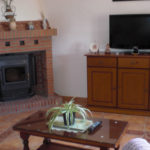 Lounge with wood burning stove and plasma TV